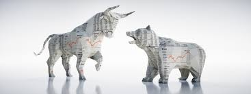 Bull and Bear made from stock ticker paper